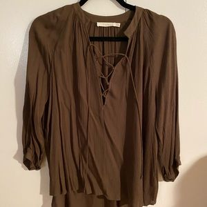 Olive Green Lace Front Blouse - Lush - Size M